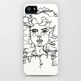 Curly Lines Girl iPhone Case