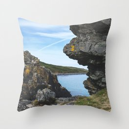 Sea View Through the Rocks, St Ives Cornwall Throw Pillow