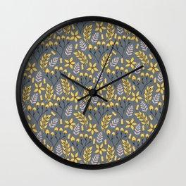 Yellow Floral Gray Wall Clock