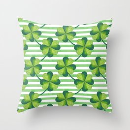 Four Leaves Clover St. Patrick's Day Pattern Throw Pillow
