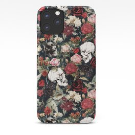 Vintage Floral With Skulls iPhone Case