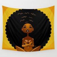 spiritual Wall Tapestries featuring Spiritual AfroGirl by Pweety Sexxay