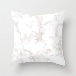 Rose Gold Marble Natural Stone Gold Metallic Veining White Quartz Throw Pillow