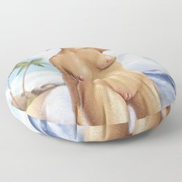 Afro girl nude Floor Pillow