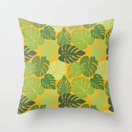 Monstera Leaves Pattern (yellow background) Throw Pillow
