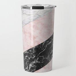 Pink marble allsorts stripes Travel Mug