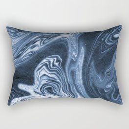 Ren - indigo ink india ink marble pattern texture art print cell phone case with marble blue joy Rectangular Pillow
