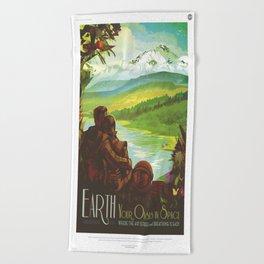 Earth Retro Space Poster Beach Towel