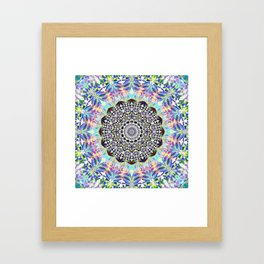 Blue and pastel coloured mandala design Framed Art Print