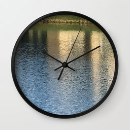 Colorful Reflections From A Countryside Pond Wall Clock