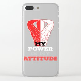 """""""My Power Is My Attitude"""" tee design. Perfect gift for your strong friends and family!Grab yours too Clear iPhone Case"""