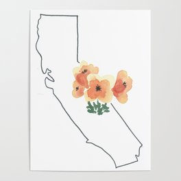 california // watercolor california poppy state flower map Poster