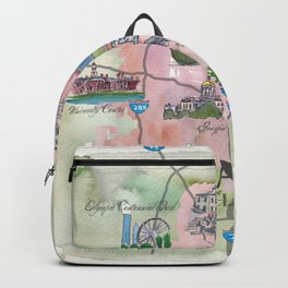 Atlanta Favorite Map with touristic Top Ten Highlights in Colorful Retro Style Backpack