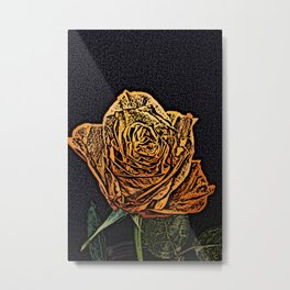 Orange Rose Woodcut Metal Print