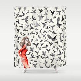 Barcelona Summer Bird Lady Shower Curtain