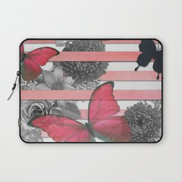 Butterflies Pink Stripes & Grayscale Flowers Laptop Sleeve