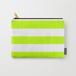 Bitter lime - solid color - white stripes pattern Carry-All Pouch