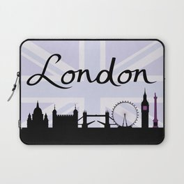 London Script on Union Jack Sky & Sites Purple Laptop Sleeve
