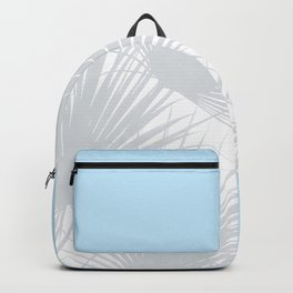 Tropical Pastel Grey Palm Leaves on Soft Blue Backpack
