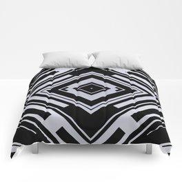 Black and White Tribal Pattern Diamond Shapes Geometric Geometry Contrast II Comforters