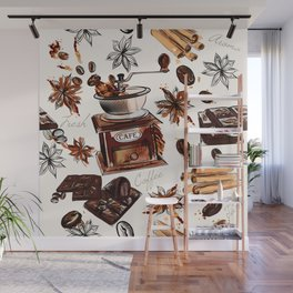 Coffee watercolor pattern with grains coffee mill and chocolate Wall Mural
