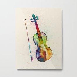 Violin Abstract Watercolor Metal Print