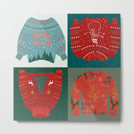 Warm wishes sweater//Christmas sweater // Christmas patterns // knitted sweater // warm wishes//snow Metal Print