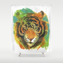 tiger stare Shower Curtain