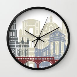 Cuenca EC skyline linear style with rainbow Wall Clock
