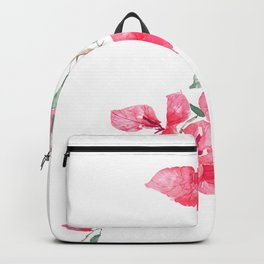 red  pink  bougainvillea watercolor Backpack