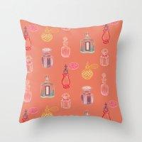 perfume Throw Pillows featuring Perfume by Pim-Pimlada Studio