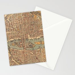 Vintage Map of Paris (1575) Stationery Cards