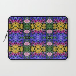 Floral Spectacular: Blue, Plum, Gold - square repeating pattern, Olbrich Botanical Gardens, Madison Laptop Sleeve