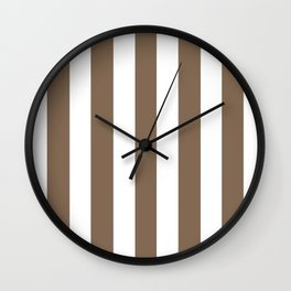 Pastel brown - solid color - white vertical lines pattern Wall Clock