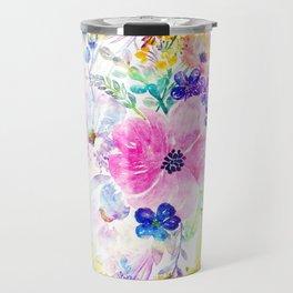 Pretty watercolor floral hand paint design Travel Mug
