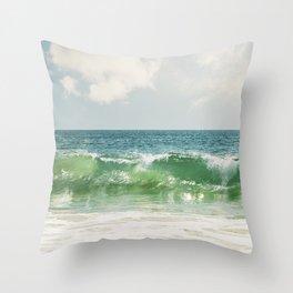 Ocean Sea Landscape Photography, Seascape Waves, Blue Green Wave Photograph Throw Pillow