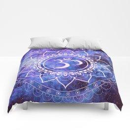 Om Mandala Purple Lavender Blue Galaxy Comforters