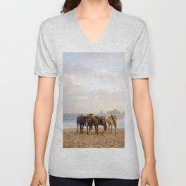 Horses on the beach Unisex V-Neck