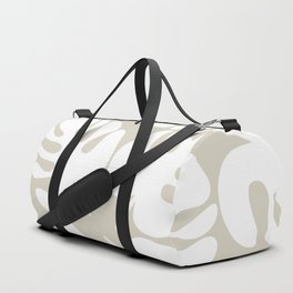 Monstera Leaf Pattern in White and Neutral Linen Duffle Bag