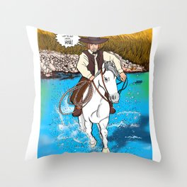 Frontier Tales: Jimmy and his horse Jack Throw Pillow