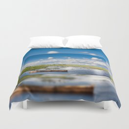 Old wooden boat in Biebrza wetland Duvet Cover