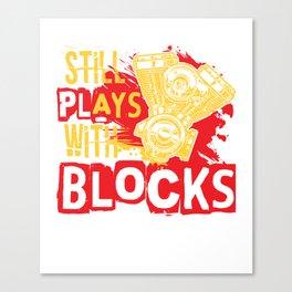 Still plays with Blocks speedshop motor V8 race Canvas Print