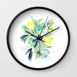 74. yellow turquoise watercolor flowers Wall Clock
