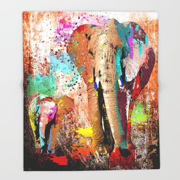 African Elephant Family Painting Throw Blanket