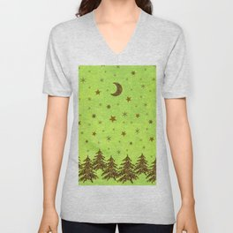 Sparkly Christmas tree, stars, moon on abstract green paper Unisex V-Neck
