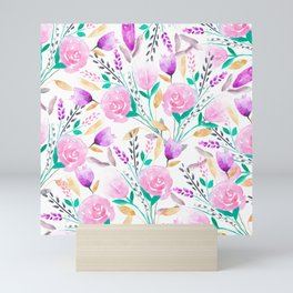 Modern pink turquoise watercolor floral spring summer pattern Mini Art Print