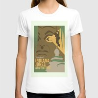 indiana jones T-shirts featuring The Indiana Jones Adventure by Minimalist Magic - Art by Tony Sherg