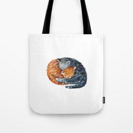 Cat, Animal Art, Little Cat Print, Animal, Two Cats Art, Orange And Blue Cat, Little Kitten, Kitten Tote Bag