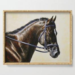 Dark Bay Dressage Horse Portrait Serving Tray