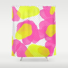 Sarahu0027s Flowers   Abstract Watercolor On Polka Dots Shower Curtain